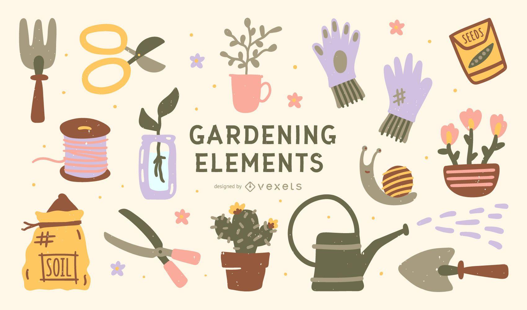 Colección de elementos de jardinería de ilustración plana