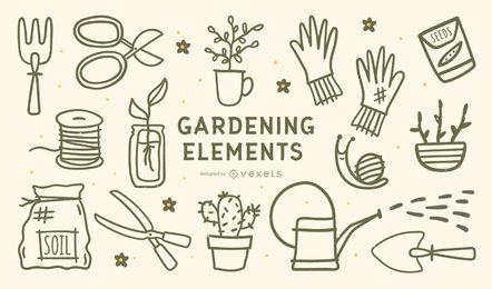 Conjunto de design de traços de elementos de jardinagem