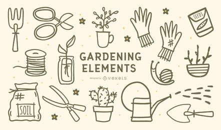 Gardening Elements Stroke Design Set