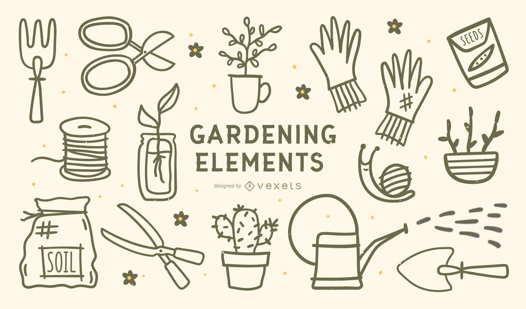Gardening Elements Stroke Design Set