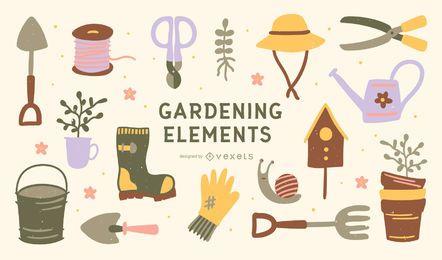 Paquete de diseño de elementos de jardinería plana