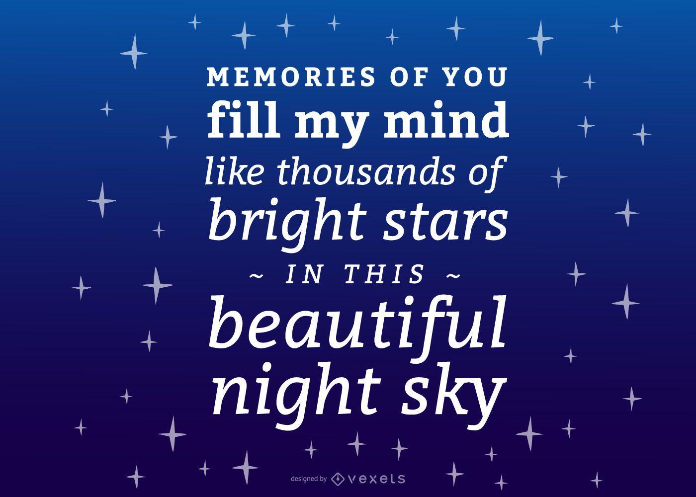 Letras conmemorativas del cielo nocturno