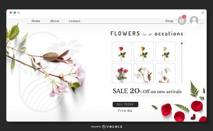 Plantilla de página de destino de flores
