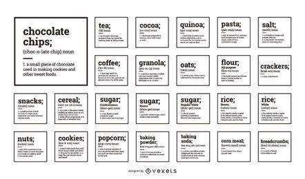 Colección de etiquetas de alimentos de la organización de la despensa
