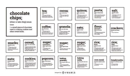 Organización de despensa Colección de etiquetas de alimentos