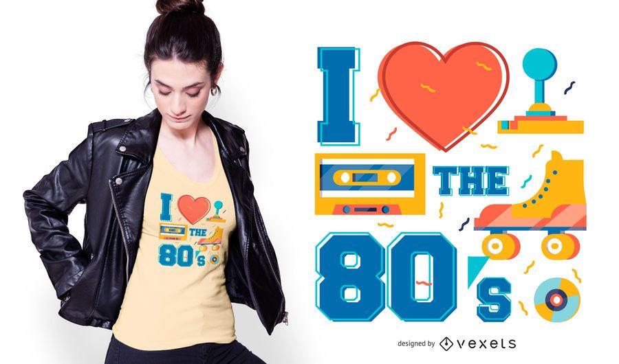Diseño de camiseta Love the 80s