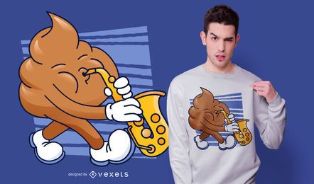 Diseño de camiseta Sax Poop