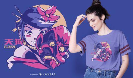 Diseño de camiseta de chica Tengu