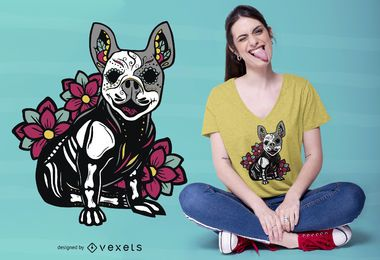 Sugar Skull Pug Dog T-shirt Design