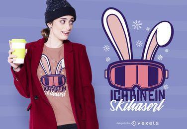 Design alemão do t-shirt do coelho da neve