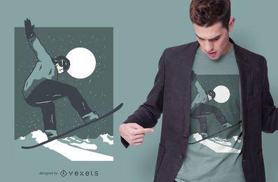 Diseño de camiseta de snowboard nocturno