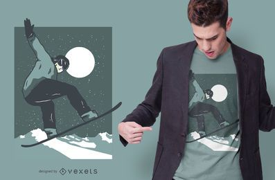 Night Snowboarding T-shirt Design