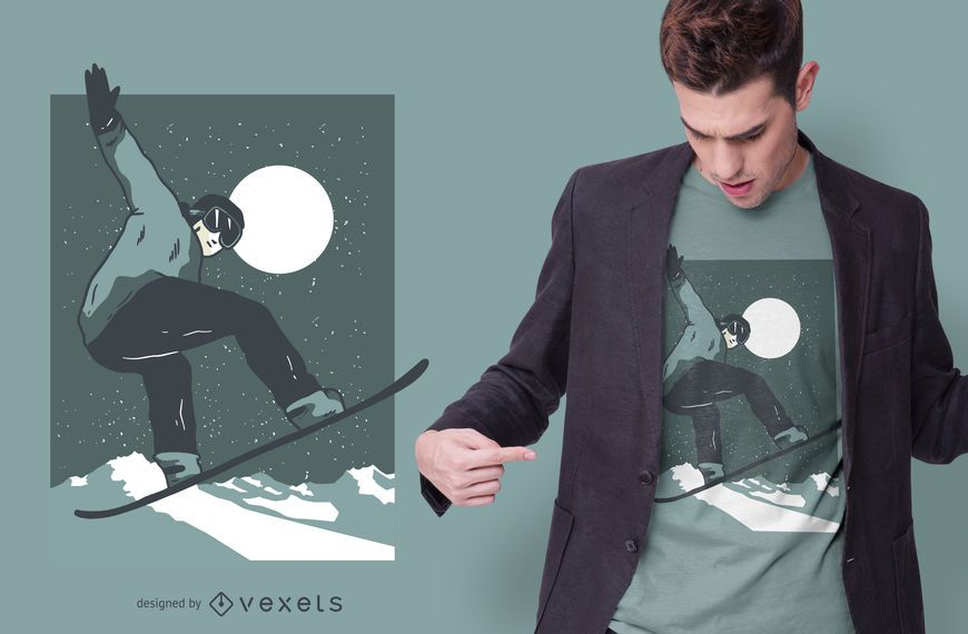 Night Snowboarding T-shirt Design