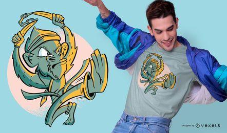 Projeto do t-shirt do macaco do karaté