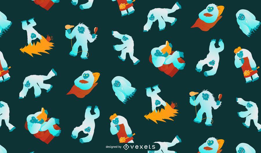 Yeti Muster Hintergrund Design