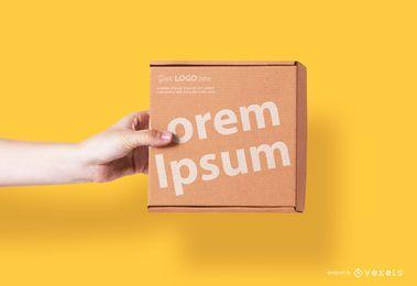 Maqueta de caja cuadrada de cartón