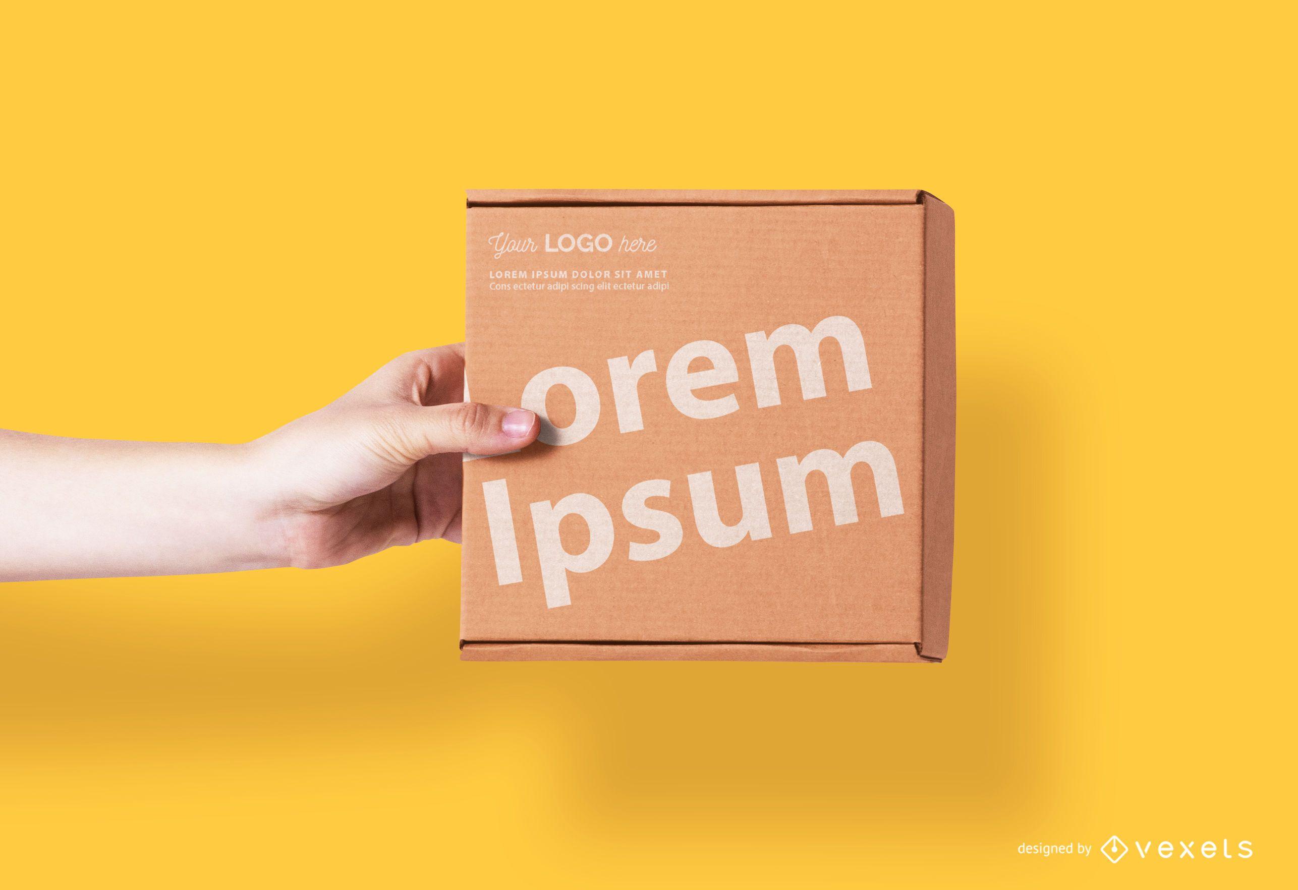 Cardboard square box mockup