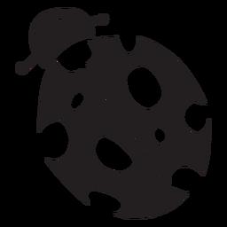 Silueta de vista superior de mariquita de dibujos animados