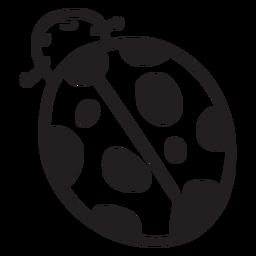 Trazo de vista superior de mariquita de dibujos animados