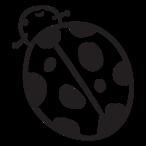 Cartoon ladybug top view stroke Transparent PNG