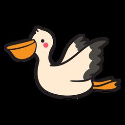 Pelicano-voador fofo