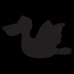 Silhueta de pelicano voadora fofa