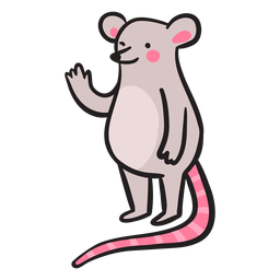 Cute gray mouse waving standing