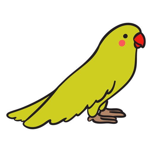 Cute green parrot standing profile Transparent PNG