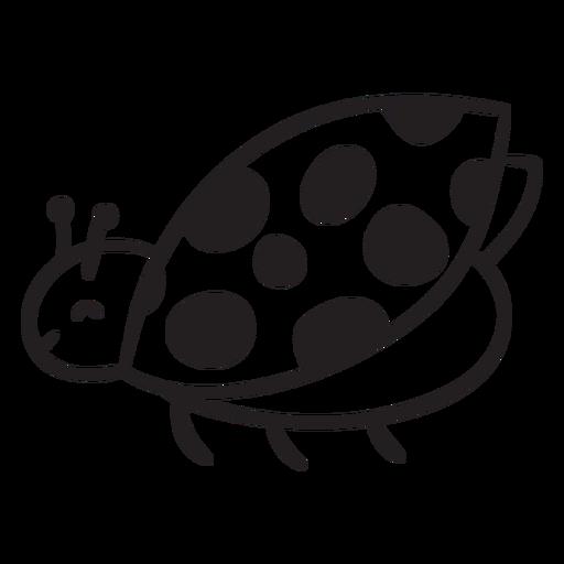 Cute ladybug flying outline Transparent PNG