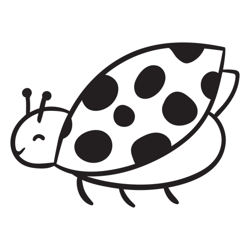 Cute ladybug flying outline
