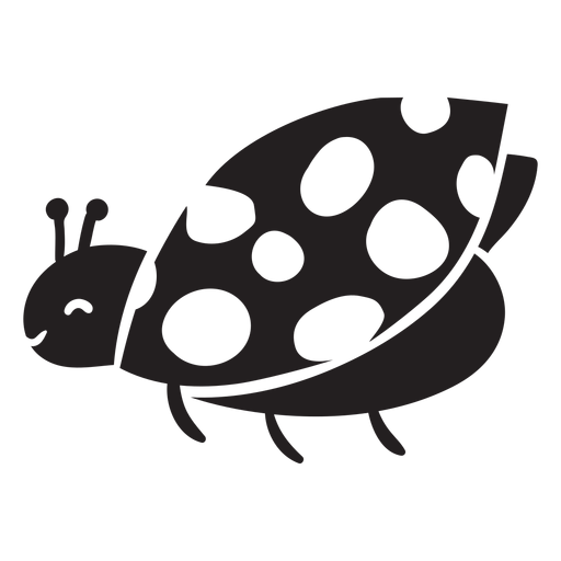 Cute ladybug flying silhouette Transparent PNG