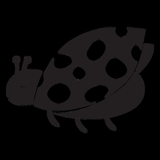 Cute ladybug flying silhouette