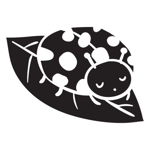 Cute ladybug resting leaf silhouette Transparent PNG