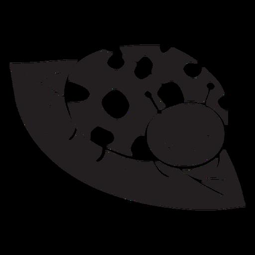 Cute ladybug resting leaf silhouette