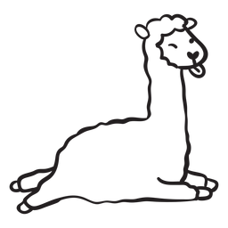 Lhama bonito correndo pulando contorno