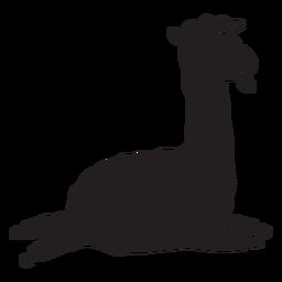 Cute llama running jumping silhouette