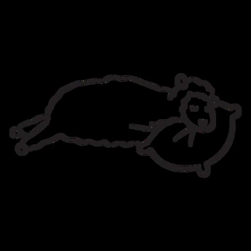 Cute llama sleeping outline Transparent PNG