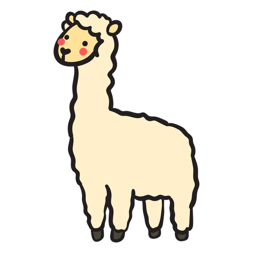 Cute llama standing profile Transparent PNG