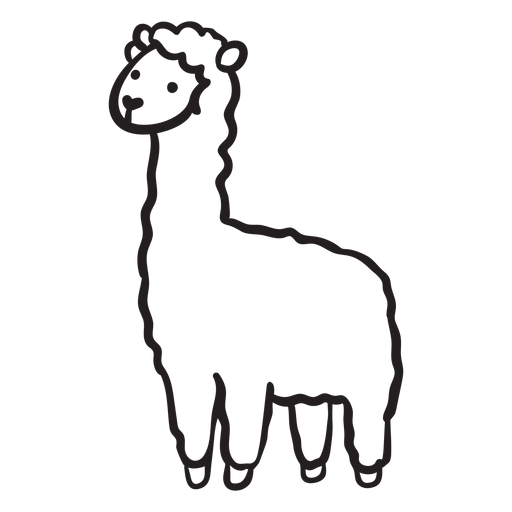 Esquema de perfil de llama linda de pie Transparent PNG