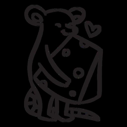 Contorno de queijo bonito amor rato Transparent PNG