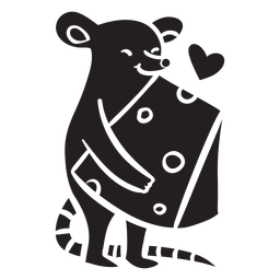 Cute mouse love cheese silhouette