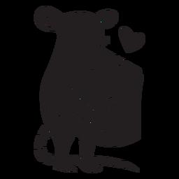 Lindo ratón amor queso silueta
