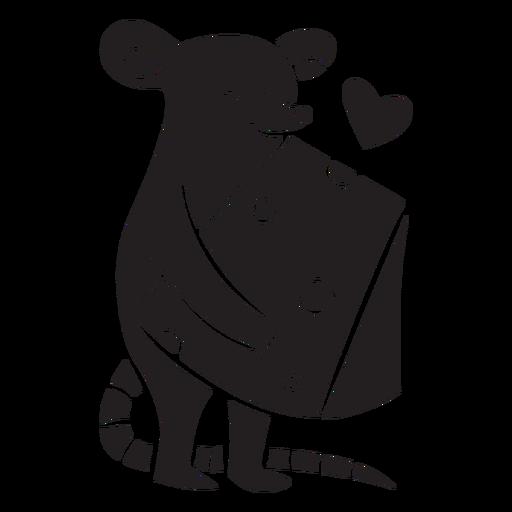 Ratón lindo amor silueta de queso Transparent PNG