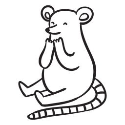 Cute mouse sitting outline