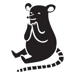 Cute mouse sitting silhouette