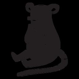 Lindo ratón sentado silueta