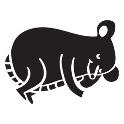 Cute mouse sleeping silhouette