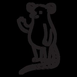 Contorno de pé acenando rato fofo