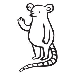 Cute mouse waving standing outline