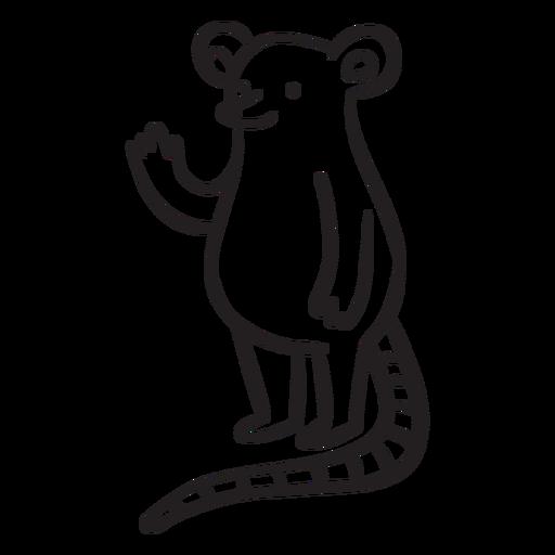 Lindo ratón agitando el contorno de pie Transparent PNG